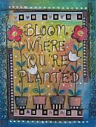 Flowers Mixed Media Metal Prints - Bloom where youre planted Metal Print by Johanna Virtanen