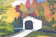 Covered Bridge Painting Metal Prints - Bloomfield Covered Bridge Metal Print by Larry Idle