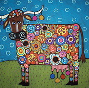 Folk Print Framed Prints - Blooming Cow Framed Print by Karla Gerard