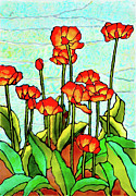 Leaves Glass Art Prints - Blooming Flowers Print by Farah Faizal