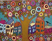 Folk Art Abstract Prints - Blooming Tree Houses Flowers And A Bird Print by Karla Gerard