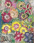Burst Mixed Media Prints - Blooms and Butterfly Print by Anne-Elizabeth Whiteway