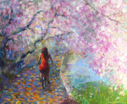 Girl On Bike Framed Prints - Blossom Alley Impressionistic painting Framed Print by Svetlana Novikova