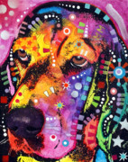 Colorful Animal Paintings - Blossom Basset Hound by Dean Russo