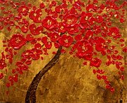 Red Flowers Reliefs - Blossom Original Impasto palette knife abstract painting Cherry Tree by Aboli Salunkhe