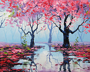 Pink Trees Posters - Blossom trees Reflections Poster by Graham Gercken