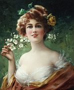 Flowers In Her Hair Framed Prints - Blossoming Beauty Framed Print by Emile Vernon