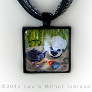 Laura Milnor Iverson Jewelry Originals - Blossoms and Bamboo Handmade Pendant by Laura Iverson