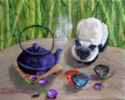 Teapot Paintings - Blossoms and Bamboo by Laura Iverson