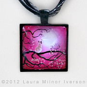 Visionary Jewelry Originals - Blossoms in Fuchsia Moonlight Pendant by Laura Iverson