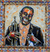 Satchmo Posters - Blow That Horn Satchmo Poster by Tami Curtis Ellis