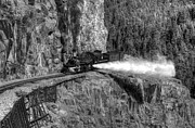 Steam Train Prints Art - Blowdown Black and White by Ken Smith