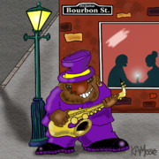 Saxophone Drawings - Blowin on Bourbon by Kev Moore
