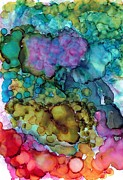 Alcohol Ink Posters - Blowing Bubbles Poster by Christine Crawford
