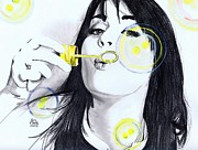 Katy Perry Drawings - Blowing bubbles by Gil Fong