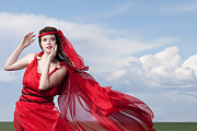 Blown Away Woman In Red Series Print by Cindy Singleton