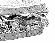 Lettuce Drawings Prints - BLT Sandwich Print by Ana Tirolese