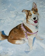 Puppies Mixed Media - Blue - Siberian Husky Dog Painting by Patricia Barmatz