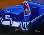 Street Rod Paintings - Blue 1956 Chevrolet by Dean Glorso
