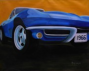 Street Rod Paintings - Blue 1966 Corvette by Dean Glorso