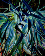 Leaf Art Posters - Blue abstract art LorX Poster by Rebecca Margraf