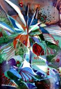 Triangle Drawings - Blue Abstract Floral by Mindy Newman