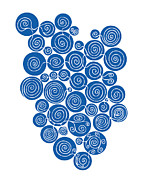 Curls Drawings Posters - Blue Abstract Poster by Frank Tschakert