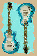 Strings Digital Art Posters - Blue Abstract Guitars Poster by David G Paul