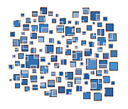 Modern Drawings Prints - Blue Abstract Rectangles Print by Frank Tschakert