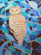 Scott Plaster Paintings - Blue Al Whimsical Owl Painting by Scott Plaster