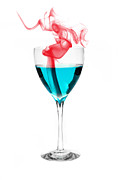 Evaporation Posters - Blue Alcohol with Red Smoke Poster by Marius Sipa