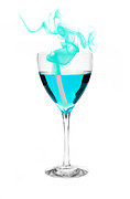 Evaporation Posters - Blue Alcohol with Smoke Poster by Marius Sipa