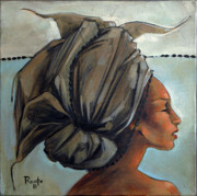 Fabric Paintings - Blue and Black Bead Headdress by Jacque Hudson-Roate