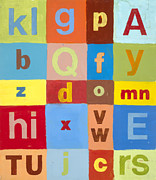 Baby Room Posters - Blue And Brown Abcs Poster by Laurie Breen