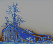 Old Barns Photo Originals - Blue and Brown by David A Brown