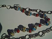 Music Jewelry - Blue And Brown Lampwork Necklace by Ozlem Ercan