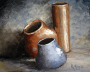 Neutral Colors Originals - Blue and Brown Pots by Roena King