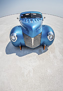 Custom Car Prints - Blue  and Chrome Bonneville Salt Flats Print by Holly Martin
