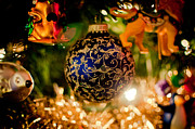 Hallmark Metal Prints - Blue and Gold Christmas Ball Metal Print by Debbie Pippin