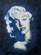 Marylin Paintings - Blue and Gold Marilyn by Michael Morgan