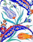 Turkish Paintings - Blue and Orange Tulip two by Pamir Thompson