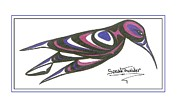 Speakthunder Berry Posters - Blue and Purple Humming Bird Poster by Speakthunder Berry
