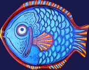 Whimsical Illustration Art - Blue and Red Fish by Genevieve Esson