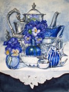 Teapot Paintings - Blue and Silver by Jane Loveall