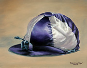Jockey Silks Framed Prints - Blue and White Jockey Cap Framed Print by Thomas Allen Pauly