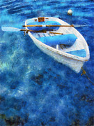 Paddles Posters - Blue and White. Lonely Boat. Impressionism Poster by Jenny Rainbow
