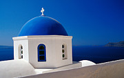 Eastern Orthodox Photos - Blue and White Santorini Church by Petr Svarc