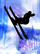 Ski Racing Paintings - Blue and White Splashes with Ski Jump by Elaine Plesser