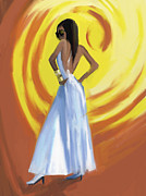 Digital Pastel Paintings - Blue and White Sundress Fashion Illustration Art Print by Beverly Brown Prints