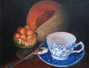 Cantaloupe Paintings - Blue and White Teacup and Melon by Marlene Book